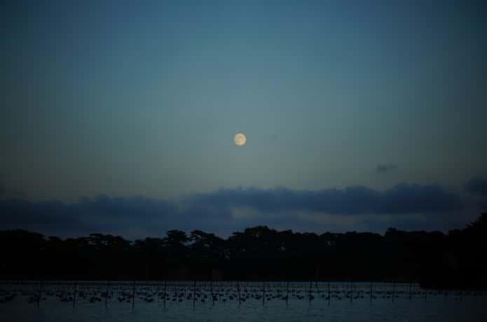 松島湾と月