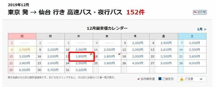 仙台 夜行バス比較表