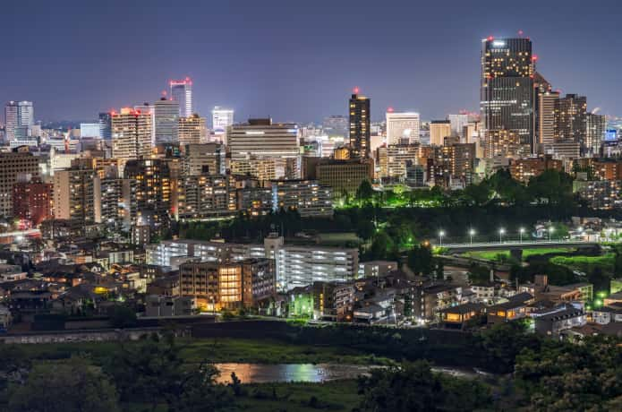 仙台城跡からみえる夜景