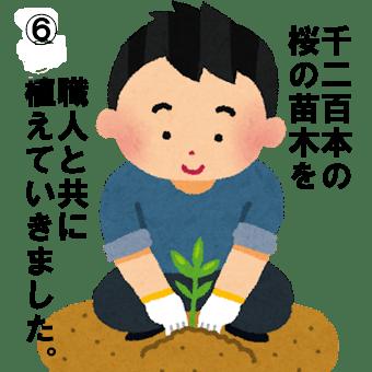 桜の苗木を植栽する人