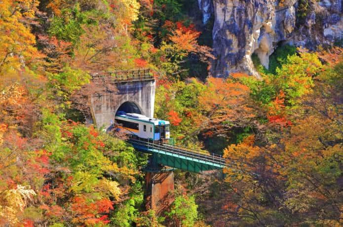 鳴子峡と電車