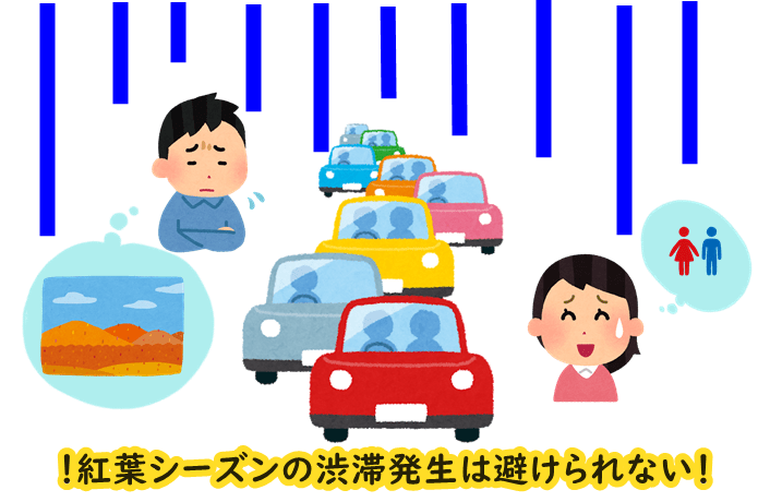紅葉 渋滞 イメージ図